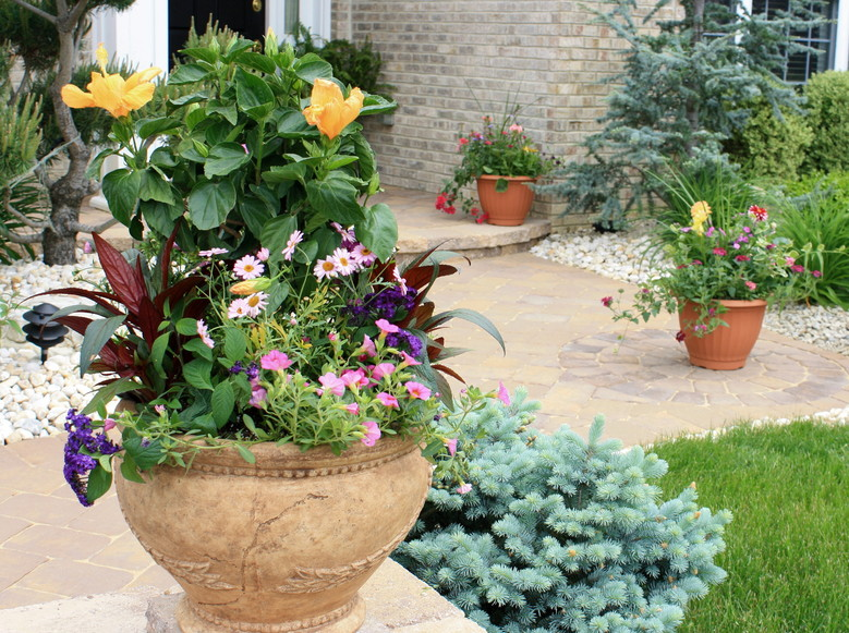 Patio Pots Welcome Visitors
